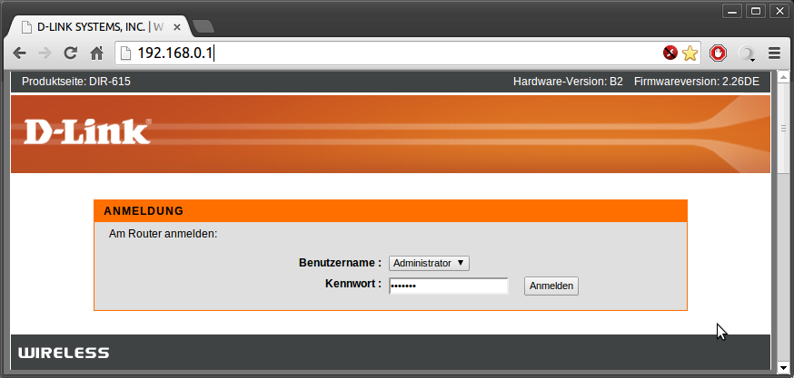 Router-Anmeldung