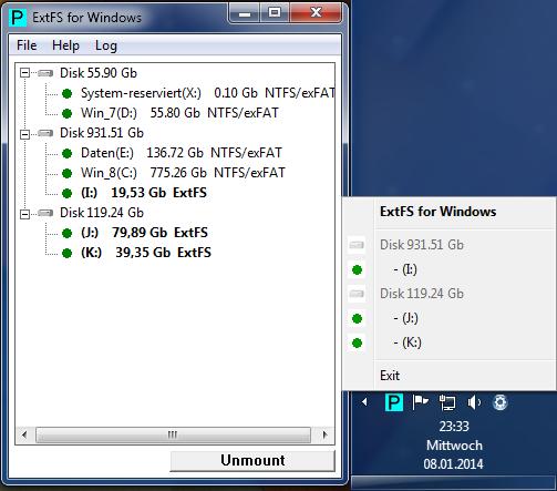 Paragon FS im Windows-Systray