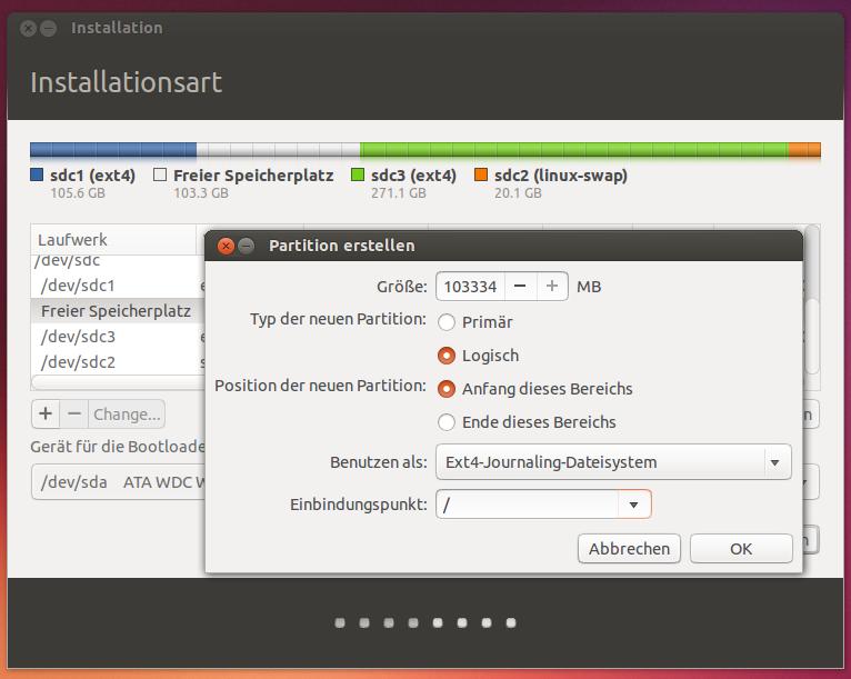 Ubuntu-Setup, manuelle Partitionierung
