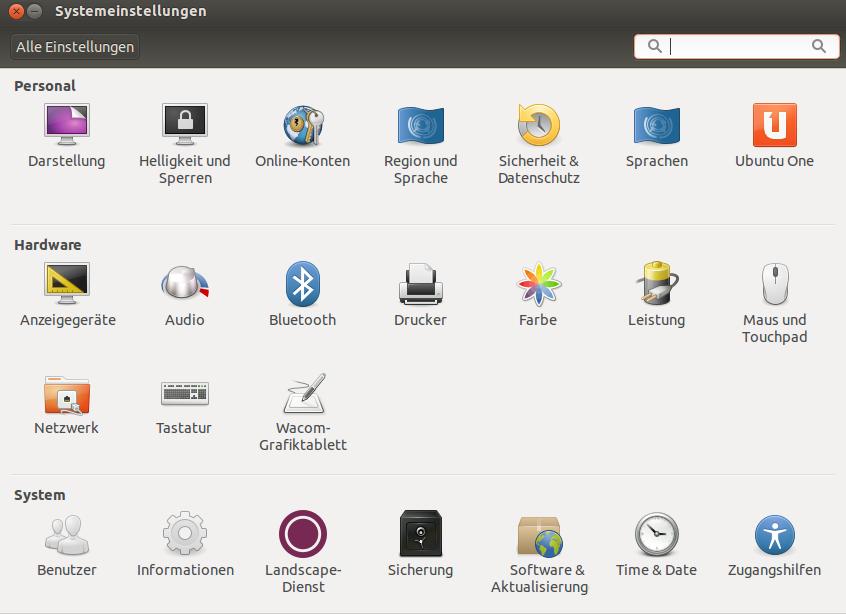 Ubuntu Systemeinstellungen