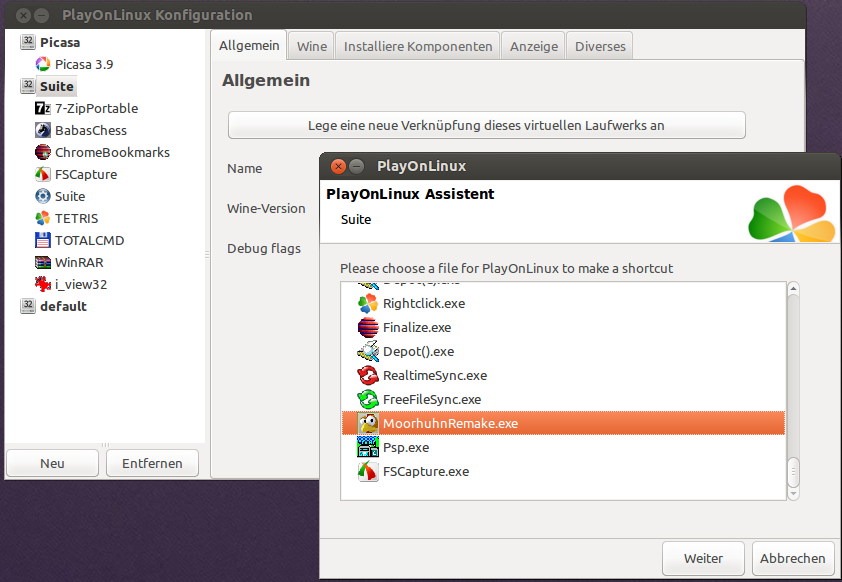 PlayOnLinux mit portabler Software