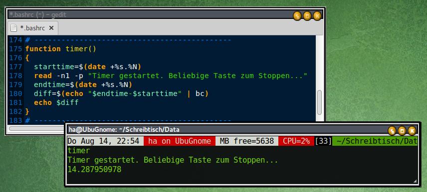 """Einfache Stoppuhr: Die Funktion """"timer"""" speichert die Startzeit. Nach beliebigem Tastendruck errechnet sie die exakte Differenz zur Endzeit und zeigt das Ergebnis an."""