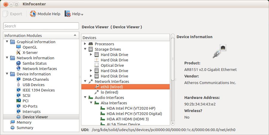 KDE Info Center: Auf Distributionen mit KDE-Desktop ist diese grafische Informationszentrale in der Regel vorinstalliert.