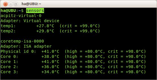 Ausgabe des Kommandos sensors: Das Tool nennt auch gleich kritische Vergleichswerte, so dass Sie die aktuellen Werte beurteilen können.