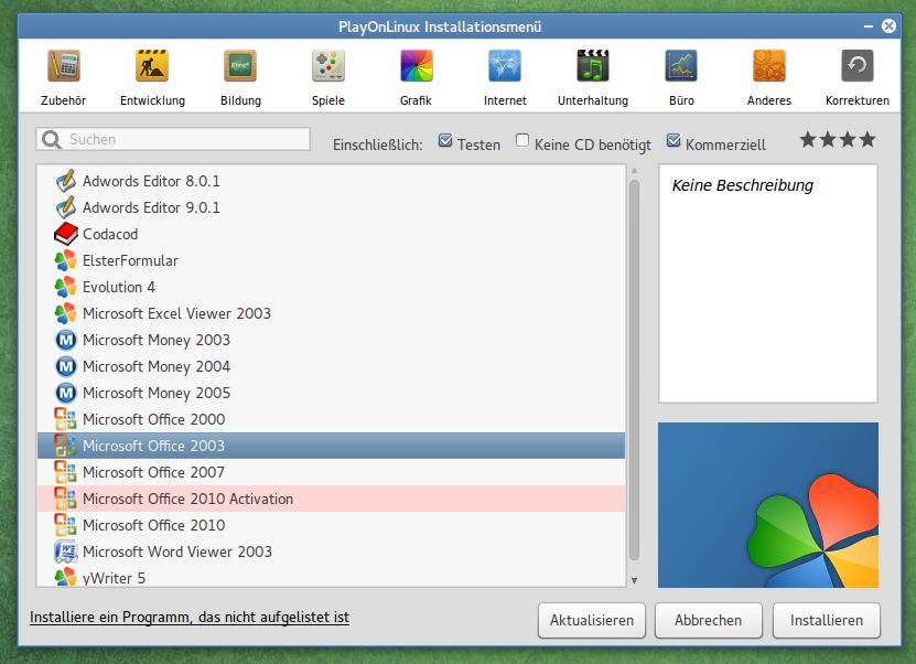 Der Installationsdialog von PlayOnLinux