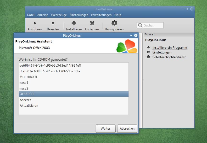Setup mit dem normalen Installationsmedium: Der PlayOnLinux-Assistent fragt nach dem Setup-Medium oder der gemounteten ISO-Datei.