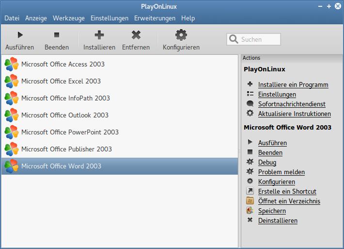 Hauptdialog von PlayOnLinux nach erfolgten Installationen: Die rechte Spalte bietet die Links für alle Aktionen wie das Starten, Debuggen oder detaillierteres Konfigurieren.