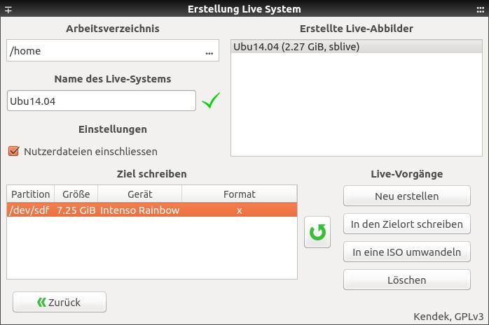 """Live-System aus einem laufenden Ubuntu/Mint erstellen: Das vorher erzeugte Live-Abbild und der Zieldatenträger müssen markiert sein, damit die Schaltfläche """"In den Zielort schreiben"""" aktiv wird."""
