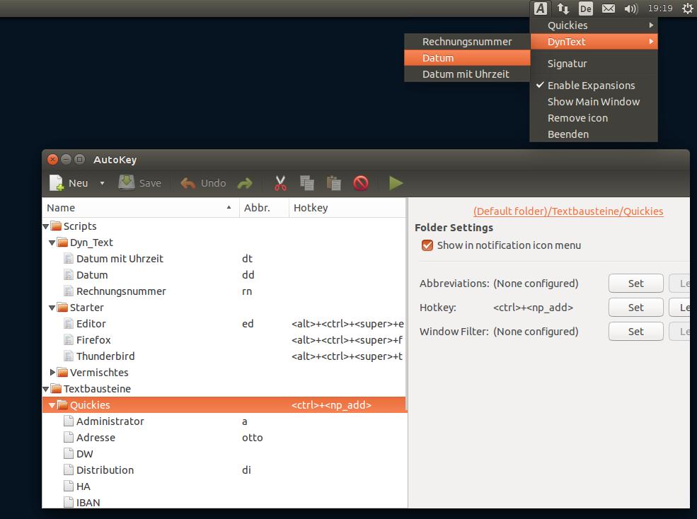 """Autokey unter Ubuntu: Die Integration des Tools ist hier aufgrund des Panel-Indikators optimal (Symbol """"A""""). Autokey funktioniert aber auch unter anderen Distributionen."""