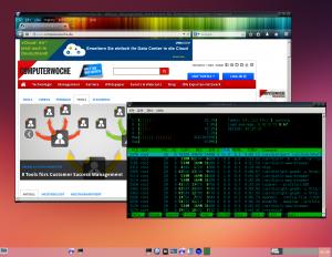 Cubox als Desktop: Debian Wheezy plus LXDE-Desktop überlässt alle Ressourcen der Software. Mit laufendem Browser zeigt Htop hier gut 300 MB RAM belegt und durchschnittliche CPU-Auslastung.